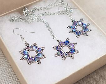 Blue Silver Star Jewelry Set - Celestial Necklace Earrings - Space Sci-fi Night Sky - Something Blue Wedding - Elegant Royal Princess
