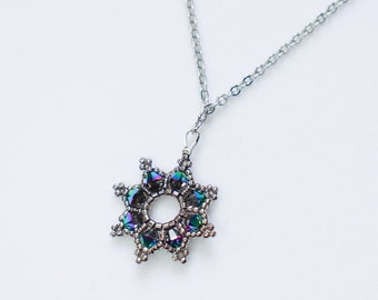 Silver Green Star Necklace - Swarovski Crystal Pendant - Celestial Night Sky - Royalcore Princess Queen - Sparkling Formal Statement Gift