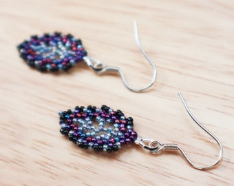 Purple and Blue Leaf Earrings - Cosmic Nature Jewelry - Alternative Boho Formal - Elvish Outfit - Gift for Mom - Woodland Magic Fairy