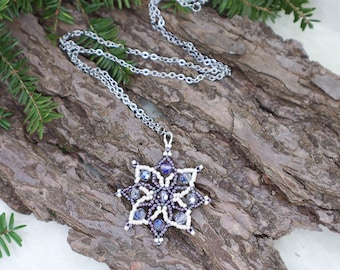 Purple and Cream Star Pendant - Crystal Bead Necklace - Mother of Bride - Medieval Wedding - Winter Fairy Magic - Outer Space - Celestial