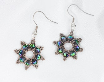 Silver Green Star Earrings - Swarovski Crystal Jewelry - Sparkling Prom Formal - Gift for Her - Celestial Outer Space - Royal Princess Queen