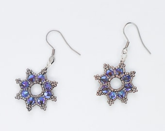 Blue Silver Star Earrings - Night Sky Jewelry - Cosmic Celestial - Alternative Wedding Bridal - Fairy Queen - Snow Elf - Royalcore Princess