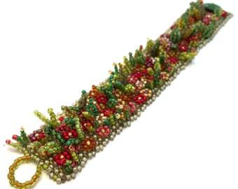 Flower Garden Beaded Bracelet
