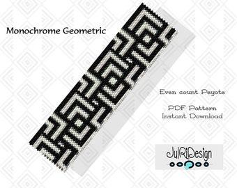 Peyote PDF Bracelet Pattern/PDF/Beading Pattern - Monochrome Geometric