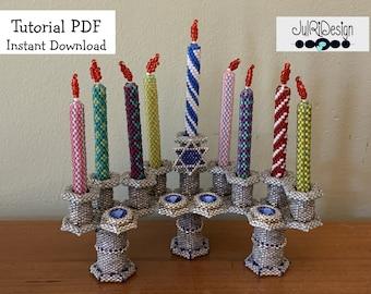 3D Hanukkah Menorah Beading Pattern with Candles