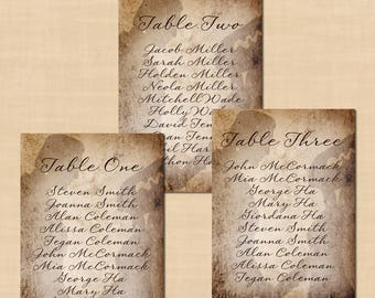 Frankenstein's Bride Halloween Seating Charts, Wedding Reception Table (5x7, Portrait): Text-Editable in Word, Printable Instant Download