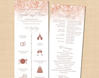 calligraphy big day wedding program itinerary guest timeline etsy