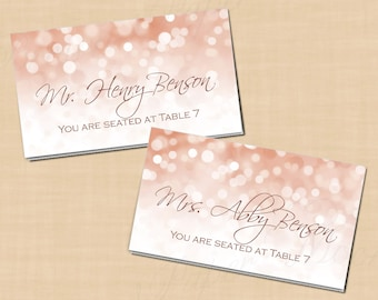 image about Gold Printable Place Cards titled Rose gold Area card Etsy