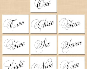Calligraphy Table Numbers 1