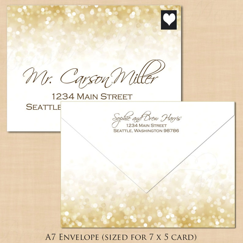 White Gold Sparkles Address Wedding Envelope Template Printable Instant Download : Text-Editable in Microsoft\u00ae Word A7