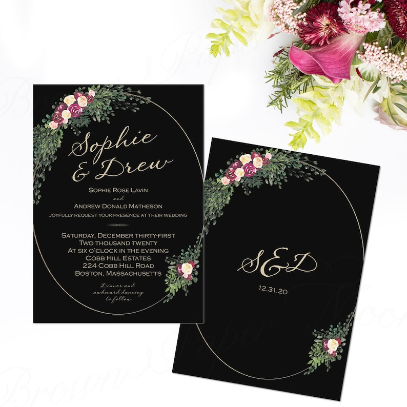 Dark Romance Wedding Invitation Template Moody Black Flower Greenery 5x7 Portrait Text Editable In Word Printable Instant Download