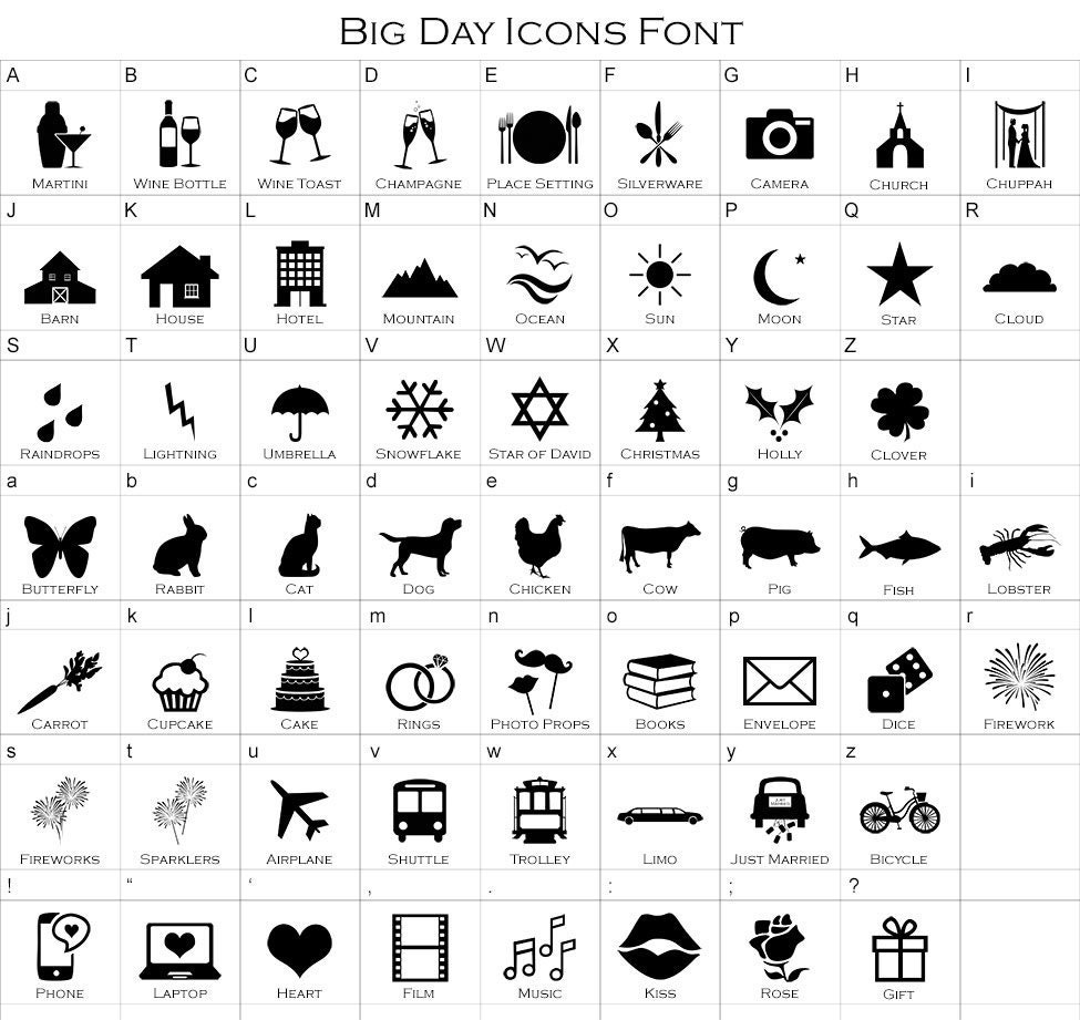 Big Day Icons Font For Wedding Itinerary Guest Timeline