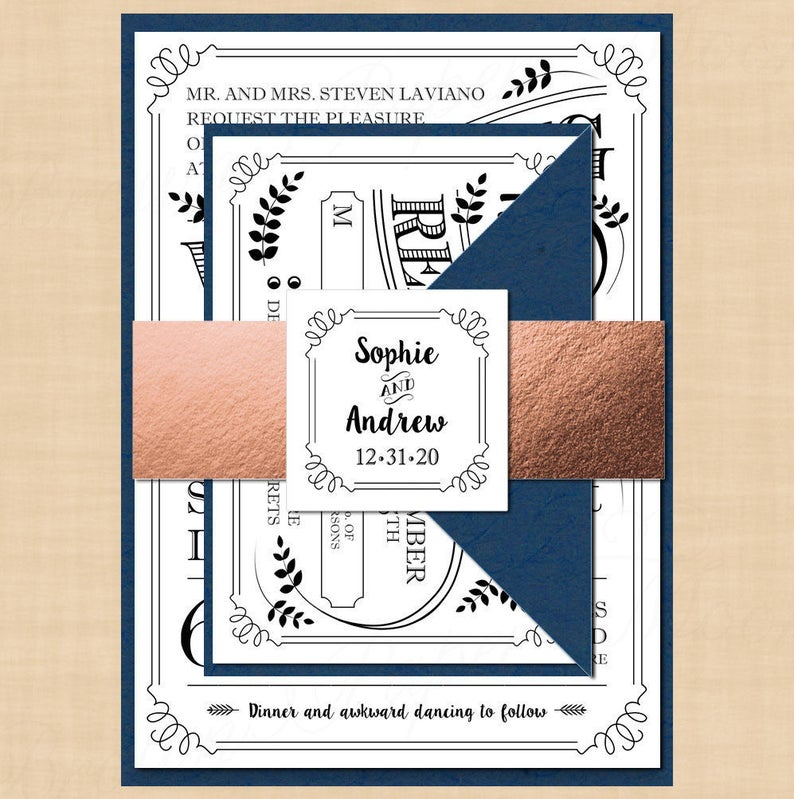 Typography Invitation, RSVP, Inserts, Belly Band Wedding Suite