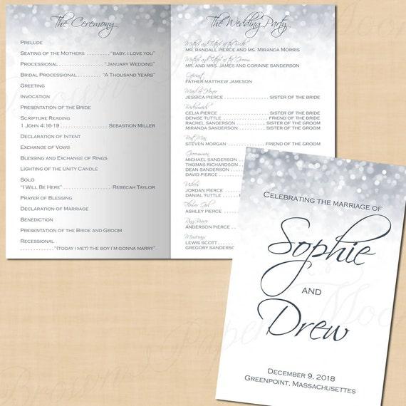 silver shimmer wedding program booklet folds to 5 5 x 8 5 etsy