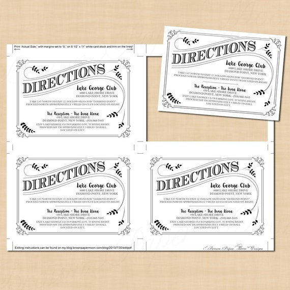 Typography Directions Wedding Invitation Insert Leafy