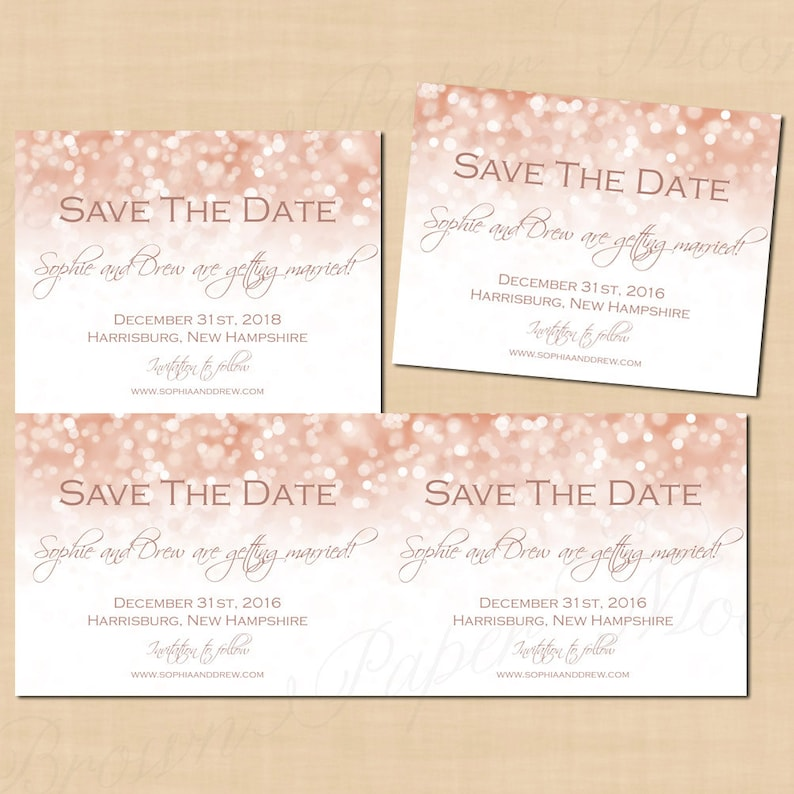 Rose Gold Sparkles Save The Date Templates 5 5x4 25 Text Editable In Microsoft Word Printable On Avery Postcards Instant Download