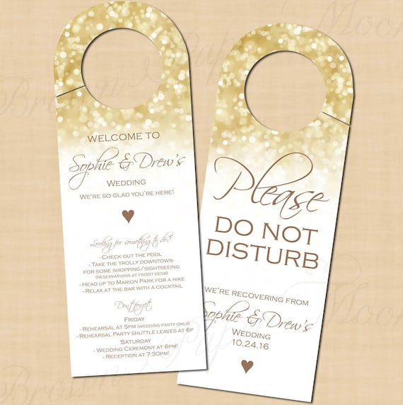 White Gold Sparkles Door Hangers Text Editable Printable On Avery 16150 Templates Instant Download