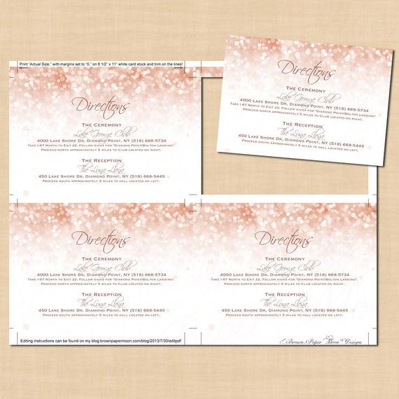 Rose Gold Sparkles Directions Wedding Invitation Insert