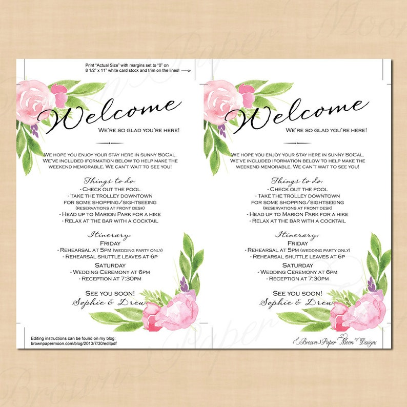 Pink Peonies and Roses : Text-Editable in Word 5x7, Portrait Bohemian Floral Welcome Letter Wedding Itinerary Printable Instant Download