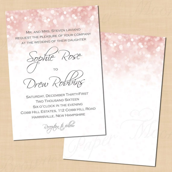 Pink Blush Glitter Wedding Invitation Template 5x7 Portrait Text Editable In MicrosoftR Word Printable Instant Download