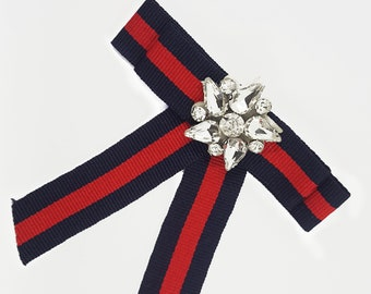 9a6ebf24c19 Striped Blue Navy Red Bow Tie Brooch Pin with Rhinestones Flower