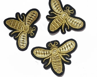 8e86cb60f Embroidered Fly Bee Patches Appliques, Iron On Insects Gucci Style Badges,  Iron on Flies Patches