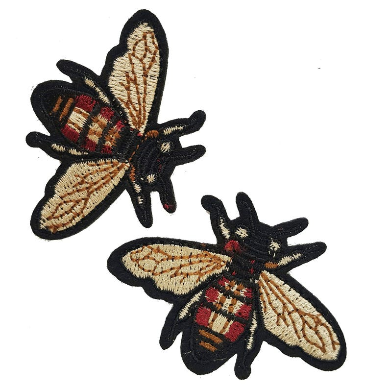 c530920cdfe Embroidered Iron On Fly Bee Patches Appliques Insects Gucci
