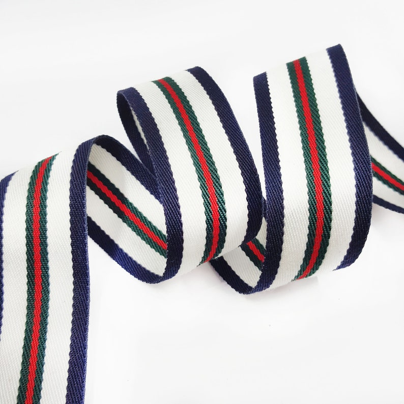 a698b24ed16 White Red Green Navy Striped Grosgrain Gucci Style Trim