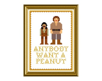 PDF Cross Stitch Pattern - Princess Bride quote  Anybody Want a Peanut 5in x 7in Sampler Handmade supply Kitsch Crafter Decor 80's Wrought