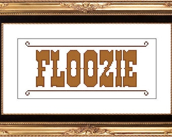 Floozie old west PDF counted cross stitch pattern 8X10