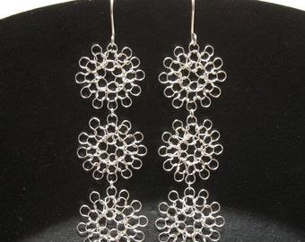 trio in silver, hand knit wire earrings