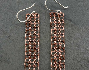 knit wire earrings -- rectangles in natural copper