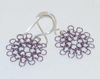 wire earrings -- hand knit, small in amethyst