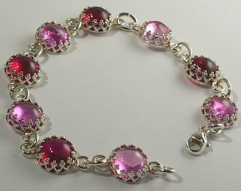 Pink And Red Argentium Silver Bracelet