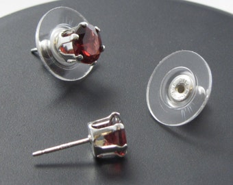 6mm Red Garnet Silver Ear Studs with Sterling Disk Earnuts