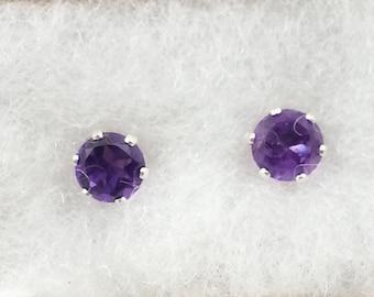 Amethyst Sterling 6mm Stud Earrings