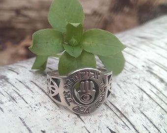 Sterling Silver Hamsa Ring w/ Hebrew Text