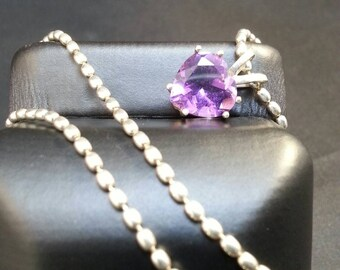 Sterling Silver Large Amethyst Stone Heart Pendant Choker by Habilis Jewelry