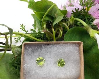 6mm Arizona Peridot Sterling Stud Earrings