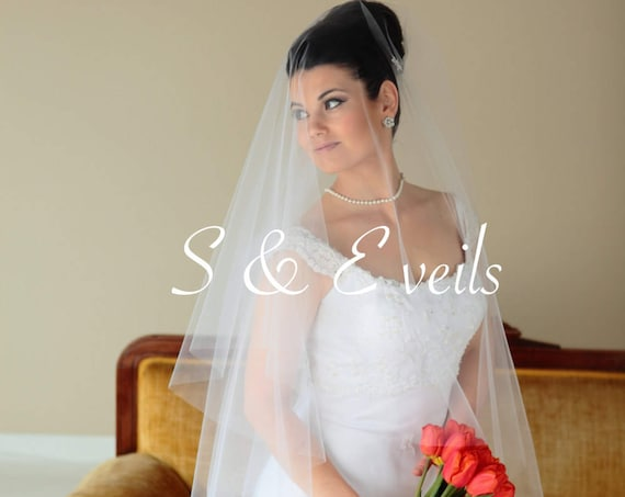 Drop Veil - Raw Edge Wedding Veil with metal comb