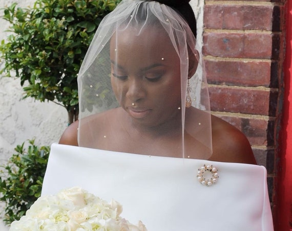 Bird Cage Veil with Pearls