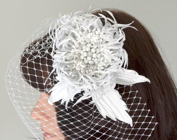 Silver Russian net Birdcage veil with Chrysanthemum flower