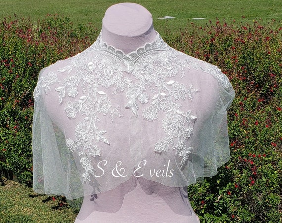 Short Wedding Cape with Lace