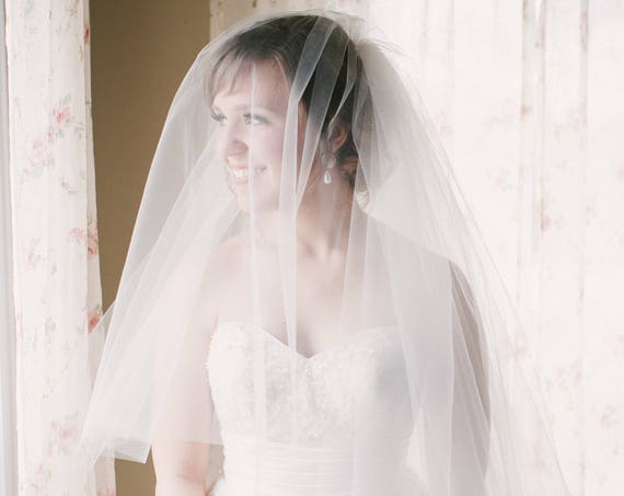 Finest Wedding Veil - Raw Edge two tier veil with metal comb