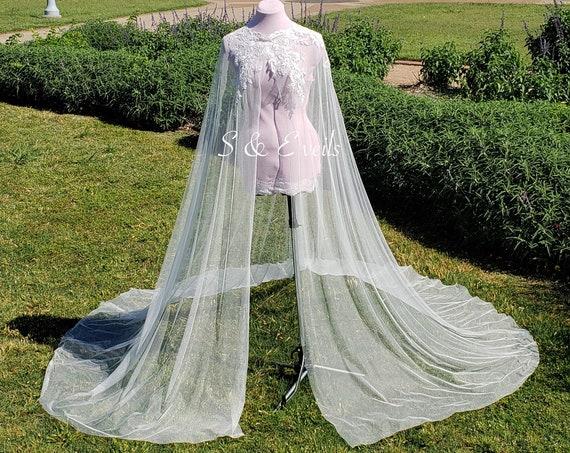 Bridal Cape with Lace - Chapel length