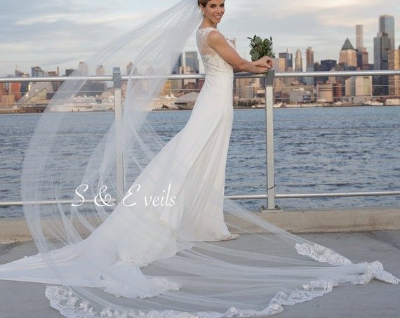 Cathedral Bridal Veil with Lace on the floor