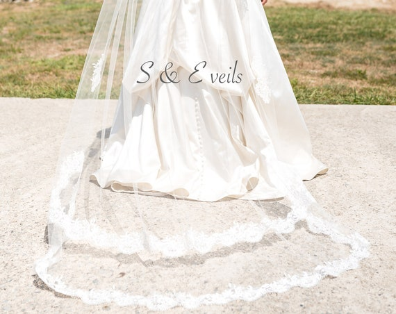 Chapel Veil with Two Tier Lace and appliques