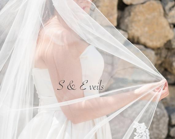 Lace Wedding Veil with Pencil edge, Wedding veil, bridal veil, wedding veil ivory, wedding veil pencil edge, pencil edge bridal veil