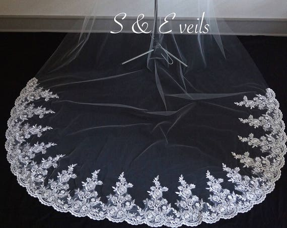 Cathedral Veil with Lace on the bottom