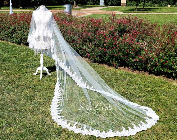 Drop Veil with Lace and rhinestones/pearls | wedding veil